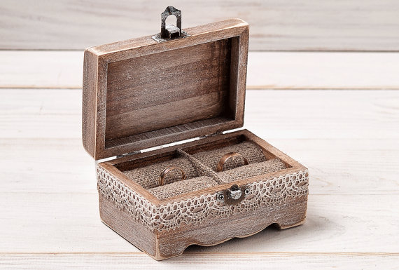 Wedding Ring Box Rustic Ring Bearer Box Custom Wood Wedding Ring