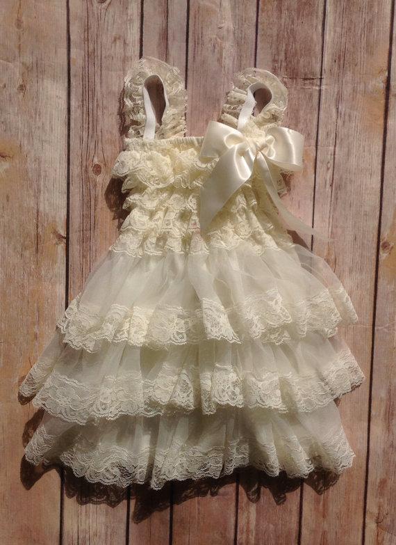 Cream Lace Toddler Baby Girl Dress Cream Flower Girl Dress Vintage