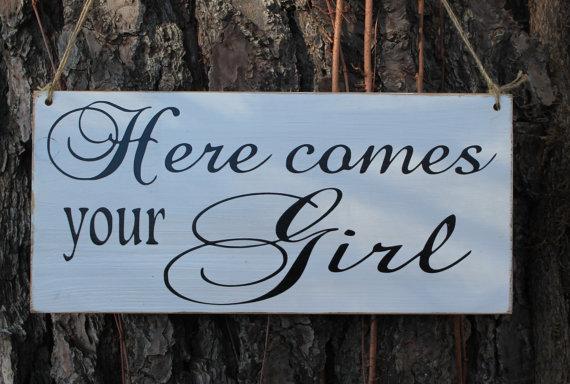 زفاف - Here Comes your Girl the Bride Wedding Sign Ring Bearer Flower girl Country Barn Style Photo Prop Ceremony Wood