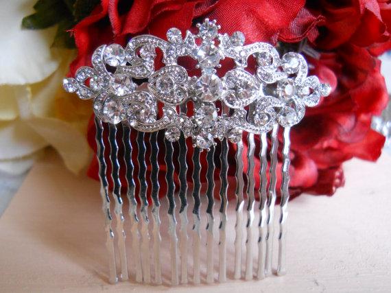 زفاف - Vintage Silver Bridal Hair Comb, Wedding Hair Comb, Wedding Hair Accessories, Rhinestone Bridal Comb, Crystal Wedding Comb, Bridal Headpiece