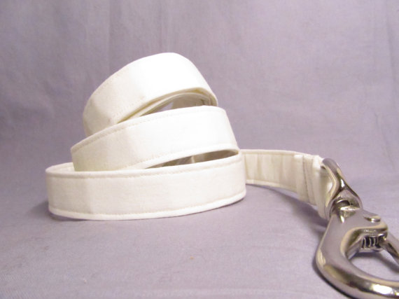 Mariage - Designer Dog Leash - IVORY Wedding - Cotton Dog Leash - MATCHING leash for dog collar, wedding set
