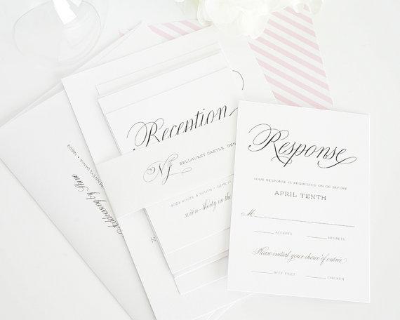 Свадьба - Light Pink Wedding Invitation - Pink, White, Pink and White, Upscale, Chic, Script Font, Sweet - Garden Script Design  - Sample Set