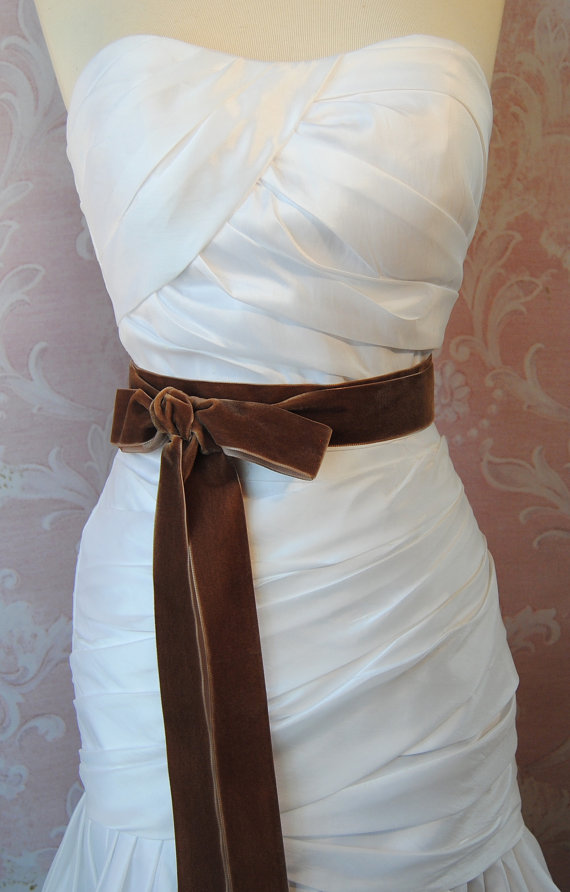 Свадьба - Tobacco Brown Velvet Ribbon, 1.5 Inches Wide, Chestnut Velvet Sash, Bridal Sash, Wedding Belt, 4 Yards