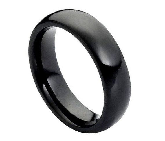 cf4d7e4e6f8d52 6MM Black Tungsten Wedding Band Comfort Fit Dome High Polished Promise  Engagement Ring for Men Women SNUJDTZPP