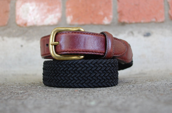 Wedding - Vintage Mens 36 Size Large LL Bean Leather Brown and Black Woven Belt Made in USA Preppy Summer Spring Festival Kid Classic Dress Wedding