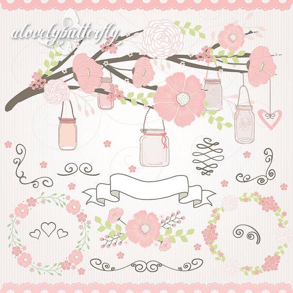 wedding flower clipart jar clipart rose blush flower clipart wedding flower invitation banners bridal shower