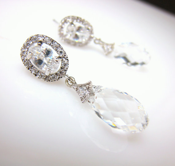 Mariage - wedding earrings bridal jewelry prom gift party christmas bridesmaid oval cubic zirconia post with clear white swarovski briolette crystal