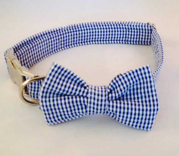 Свадьба - Preppy Navy Blue Gingham Seersucker Dog Bow Tie Collar, Preppy Dog Bowtie Collar, Navy Check Dog Bow Tie Collar, Plaid Dog Bow Tie Collar