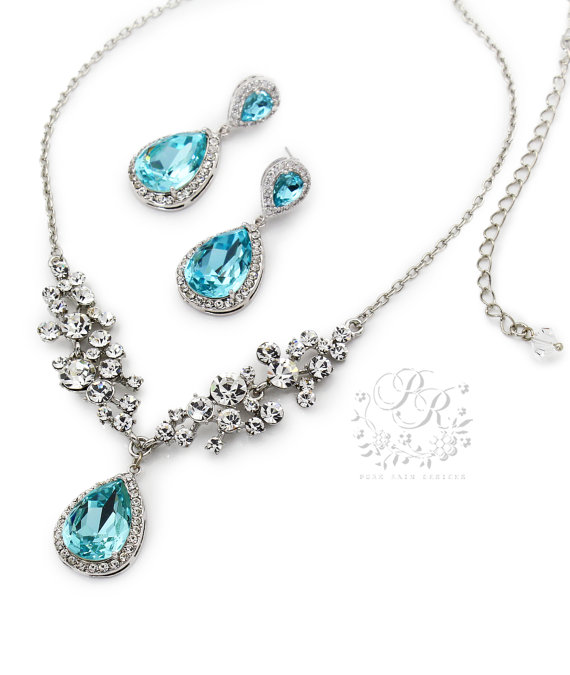 Wedding Necklace Earrings Aquamarine Blue Crystal Set Brides Jewelry Bridal Swarovski
