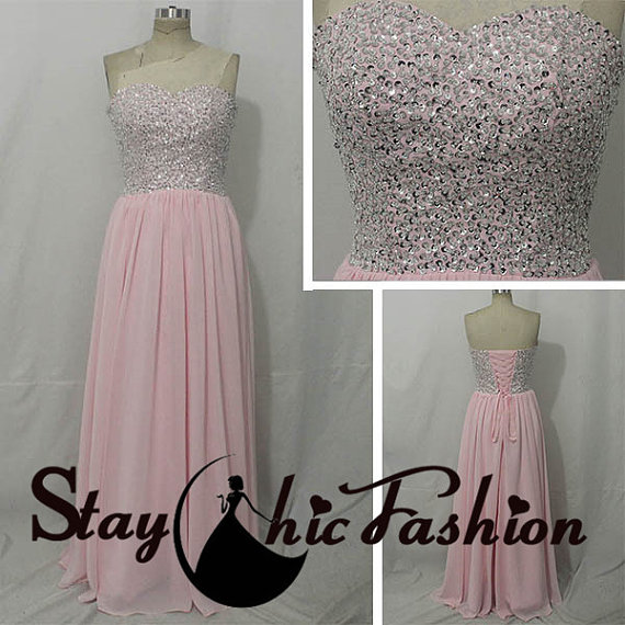 Wedding - Juniors Pink Strapless Sequined Top Long Chiffon Lace Up Back Prom Dress, Womens Sparkly Top Long Pink Bridesmaid Dress
