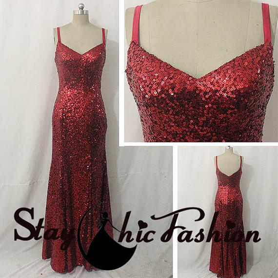 Red Spaghetti Straps Sequined Evening Dress For Women 45670f450