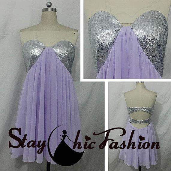 Wedding - Lavender Short Sequined Bust Strapless Open Back Homecoming Dresses 2015, Juniors Strapless Purple Short Cutout Back Chiffon Prom Dress