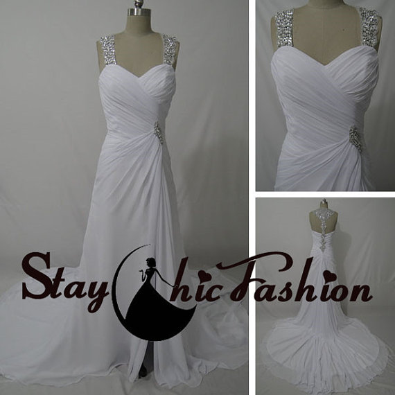 Wedding - Sequined Straps White Long Pleated Bust Jeweled T-strap Back Slit Wedding Bridal Dress, White Shirred Bust Chiffon Trumpet Formal Dresses