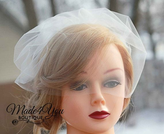 Mariage - Nose Level Tulle Veil-Birdcage Veil-Wedding Tulle Veil-Veil Only-Ivory, White Or Champagne
