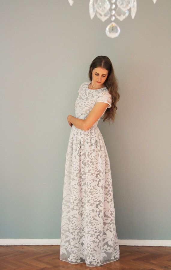Wedding - White Organza Maxi Dress With Grey Lining