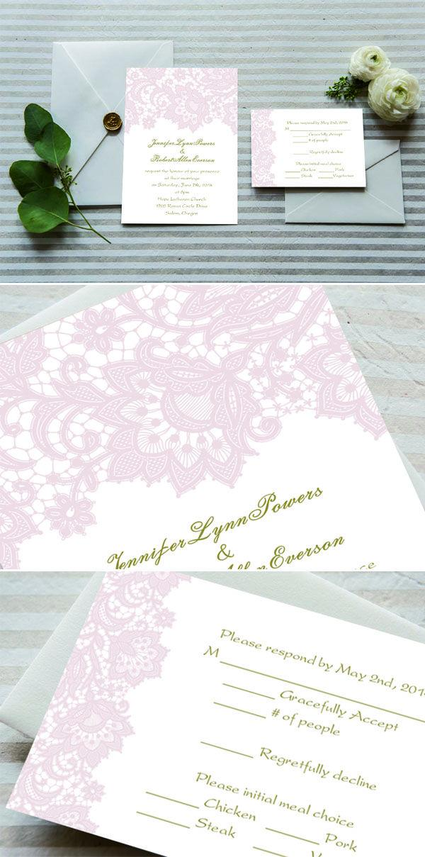 Cheap Romantic Blush Pink Lace Wedding Invitations EWI327