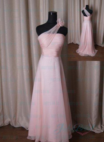 Lj203 Sipmle Blush Colored One Shoulder Chiffon Bridesmaid Dress