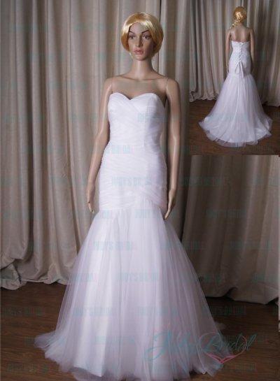 Wedding - LJ207 stunning white ruching detailed sweetheart mermaid wedding dress