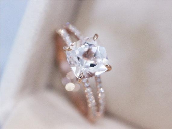 Vs 8x8mm pink morganite ring 2 5ct cushion cut morganite wedding ring