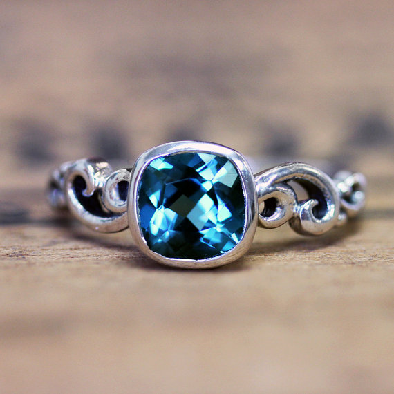 Wedding - London blue topaz engagement ring - December birthstone - recycled sterling silver - swirl band - ready to ship size 8 - water dream ring