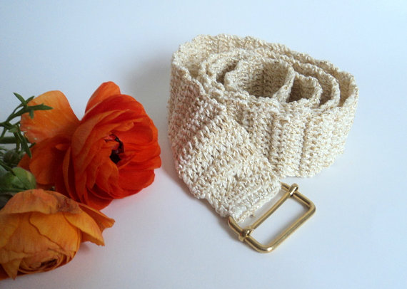 Mariage - Crochet cream and shimmery belt, Sporty belt, women accessories,  fashion design, ready to shipping.