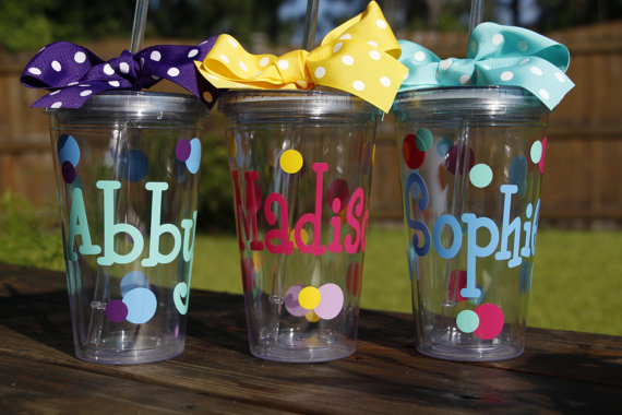 personalized tumbler with straw double wall 16 oz clear