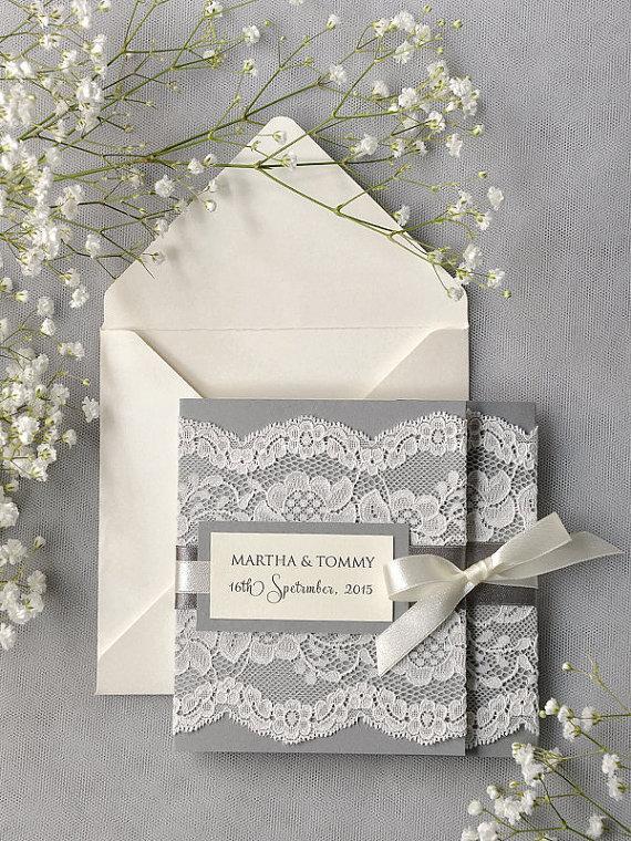 Hochzeit - Custom  listing (100) Ivory Lace  Wedding Invitation, Grey Wedding Invitation, Pocket Fold Wedding Invitations