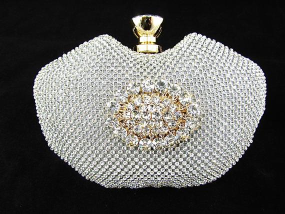 Mariage - Silver and Gold Rhinestone Crystal Bridal Clutch, Crystal Wedding Purse, Rhinestone Evening Clutch