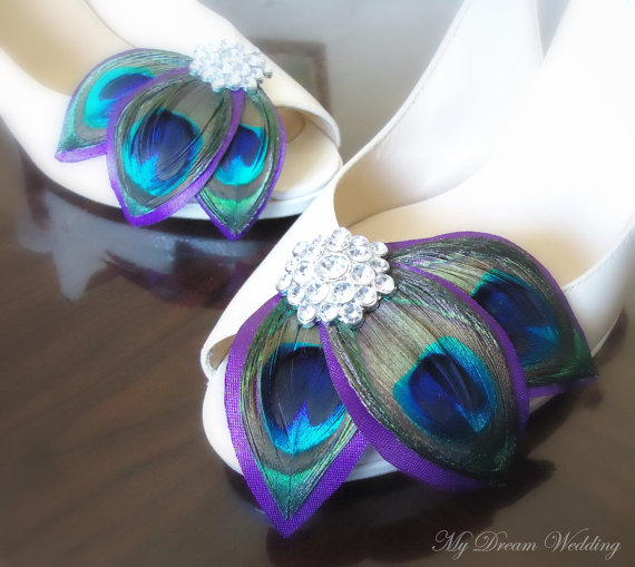 Wedding - Purple Peacock Shoe Clips. Leaves Shoe Clips. Feathers, Wired petals, Bride, Bridal, Wedding-   LISSA MARIE COLLECTION-