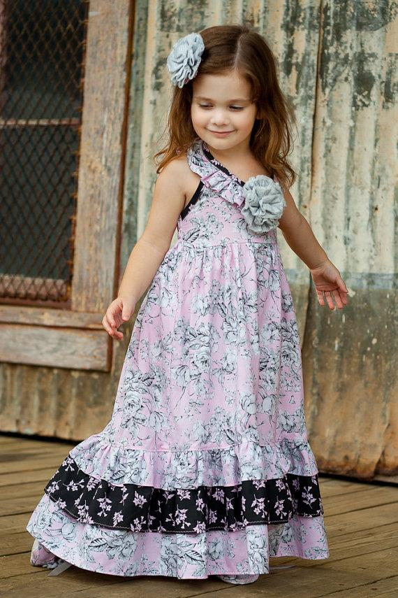 Maxi Dress For Little Girls Sizes 2T To 10, Pink Dress, Girls ...