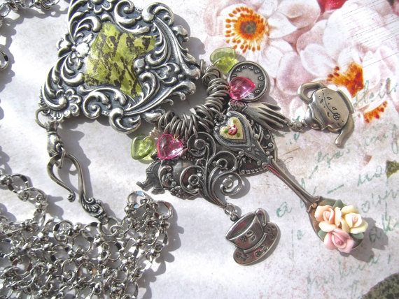 Mariage - Fine Silver Plated Charm Enhancer Necklace with Decoupage and Vintage Porcelain Flowers & Guilloche Heart