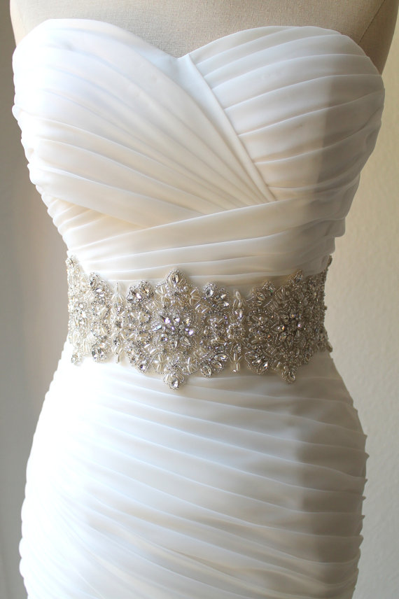 Luxury wide statement crystal pearl bridal sash 4 inch for Pearl belt for wedding dress