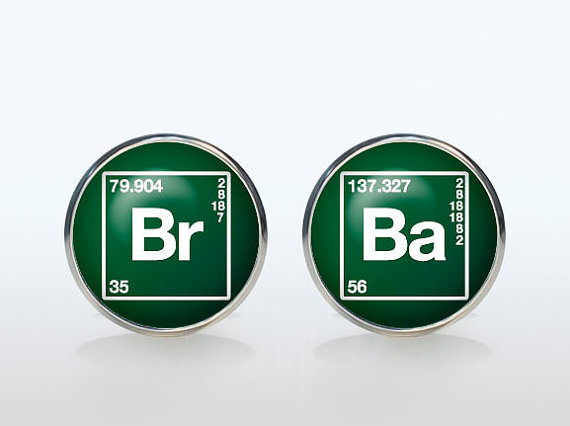 Mariage - Breaking Bad cufflinks Silver plated Br Ba cuff links Accessories quote jewelry unique Wedding gifts for men green white