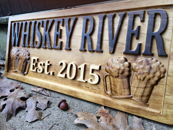 Personalized bar sign carved wood sign custom wood sign personalized wood sign groomsmen gift - Custom signs for home decor concept ...