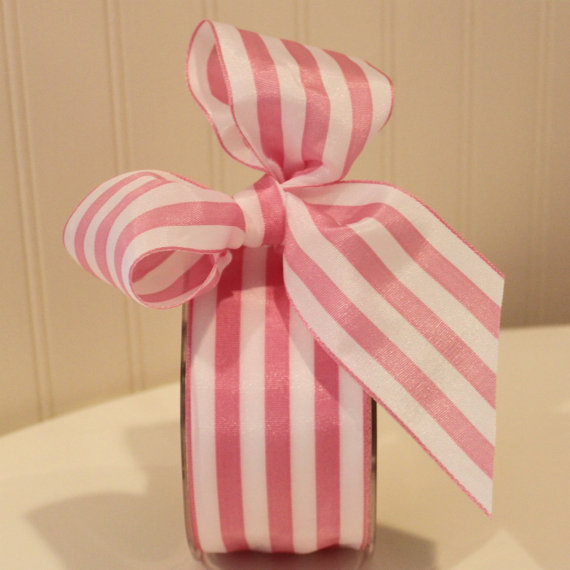 """Свадьба - Ribbon, Pink and White Striped Ribbon, 2"""" wide Ribbon by the yard, DIY Wedding Favors, Gift Wrap, Party Favor Packaging Ribbon, Baby  Shower"""