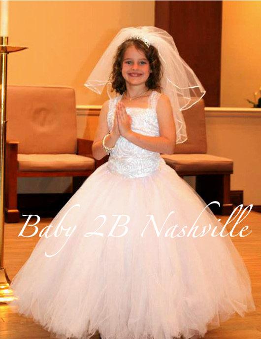 Mariage - Flower Girl Dress in White Pearl Satin Rosette Communion Dress Wedding Flower Girl Dress  All Sizes Girls