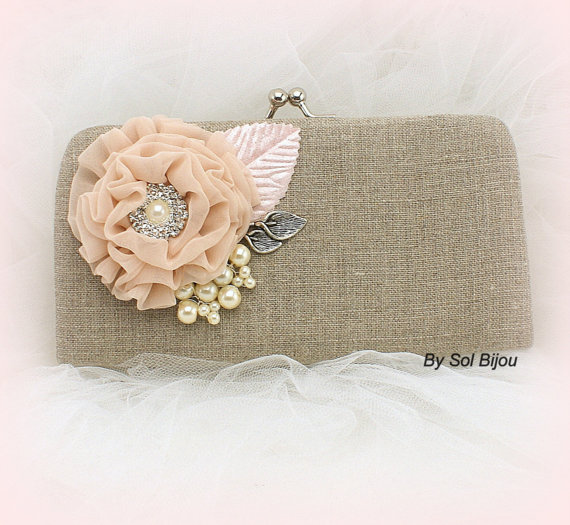Mariage - Linen Clutch, Handbag, Maid of Honor, Bridesmaids in Blush, Ivory and Pink, Shabby Chic, Rustic Wedding- Vintage Inspired