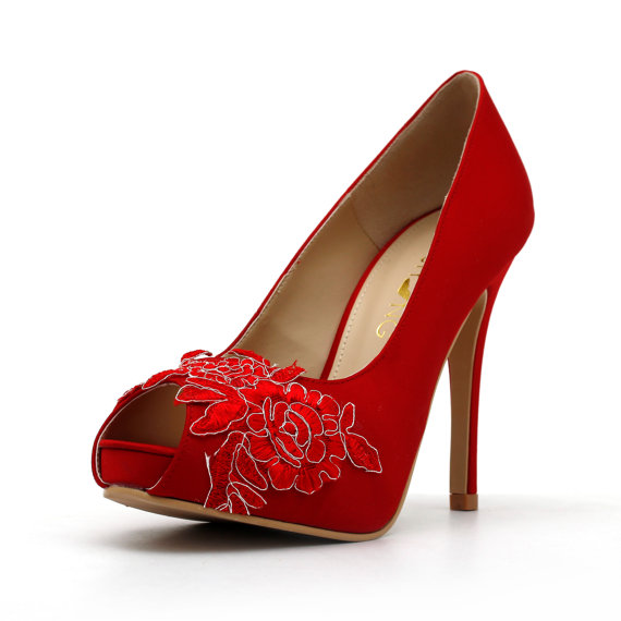 Mariage - Red Wedding Shoes,Red Bridal Heels,Red Satin Lace Wedding Shoes, Red Lace Bridal Heels
