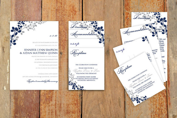 Mariage - Pocket Wedding Invitation Template Set - DOWNLOAD Instantly - EDITABLE TEXT - Exquisite Vines (Navy & Silver)  - Microsoft Word Format