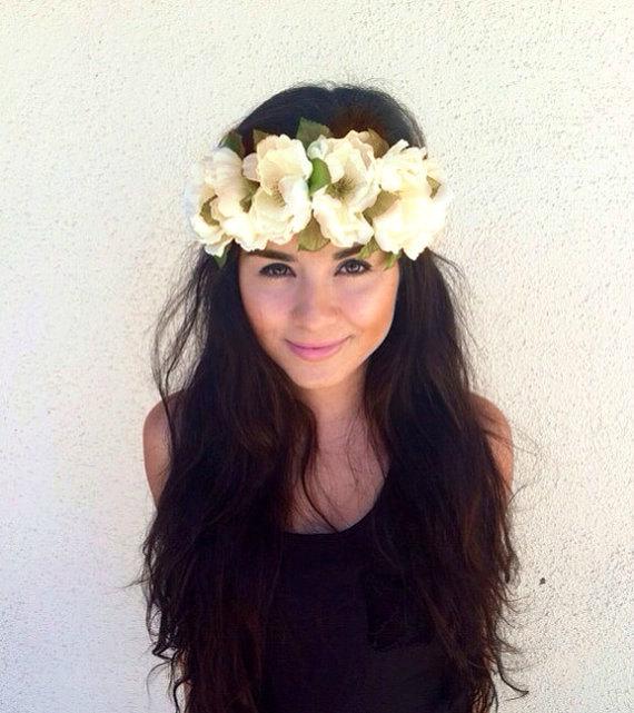 Wedding - Flower Crown, Flower Headband, Coachella, Music festival, Rave accessory - White Cream Peonies