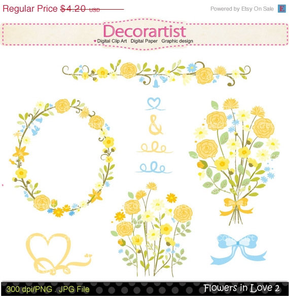 Hochzeit - ON SALE Flowers clip art, wedding clip art,frame clip art,flowers bouquet,engagement clip art, flower clip art,valentines day,INSTANT Downlo