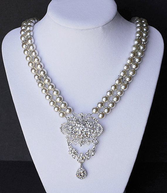 Mariage - Bridal Pearl Rhinestone Necklace Double Strand Wedding Jewelry Crystal Flower Pendant NK013LX