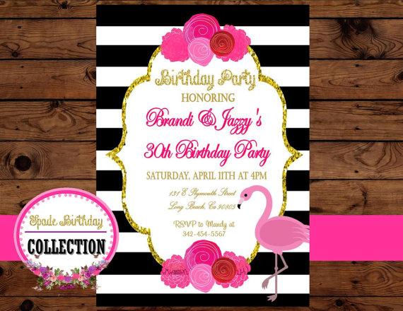 زفاف - Bridal Shower Invitation - Wedding INVITATION - Flamingo Party -Black and White Stripe - Bridal Shower- Birthday- Flamingo Invitation
