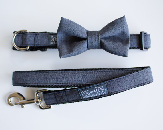 Свадьба - Dog Bow Tie In Dark Gray Suit, Dog Collar, Dog Leash