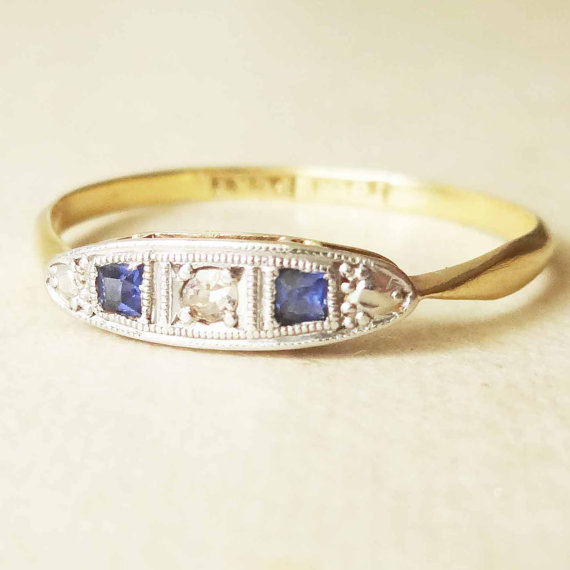 Mariage - Art Deco Diamond, Platinum & Sapphire Trilogy Engagement Ring, Platinum and 18k Gold Ring, Approximate Size US 8.25