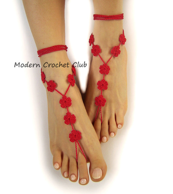 Свадьба - RED FLOWER Barefoot Sandals, Valentine's Day gift, beach wedding, bride and bridesmaide, nude shoes, lace sandles, pool party, crochet lace