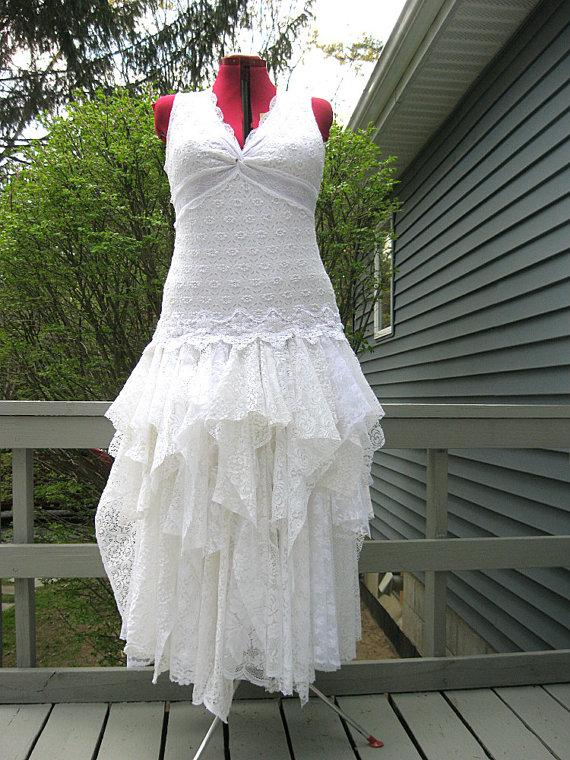 L White Tattered Wedding Dress Boho Bohemian Hippie Gypsy Bride Stevie Nicks Mermaid Recycled Vintage Laces Us Size 20 Plus