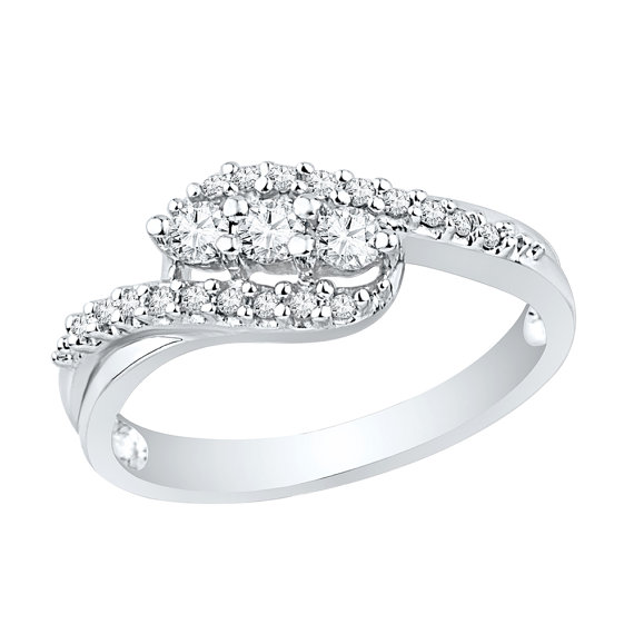 Mariage - Three Stone Diamond Engagement Ring 1/4 CT. T.W. with Diamond Accents, White Gold or Sterling Silver Ring