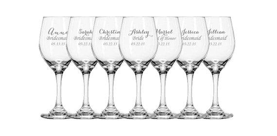 Hochzeit - 5 Laser Engraved Bridesmaid Wine Glasses, Gift for Bridesmaids, Personalized Wine Glasses