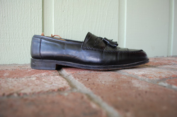 Mariage - Vintage Mens Size 11.5 Stacy Adams Black Leather Slip On Loafers Dress Shoes High Fashion Preppy Designer Wedding Sleek Oxfords Office Shoe